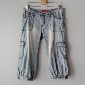 Baby Phat Vintage Utility Zippered Capri Jeans